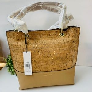 CK Sonoma Cork Tote Bag Gold Hardware Shoulder